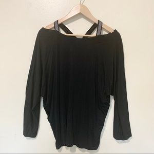 Cable & gauge black long sleeve blouse, size XL